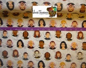 Star Trek TNG Character Faces White - 1 yard - Camelot