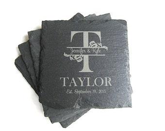 Personalized Slate Coasters - Drink Coasters - Set of 4 Family Name Coaster - Wedding Gift -