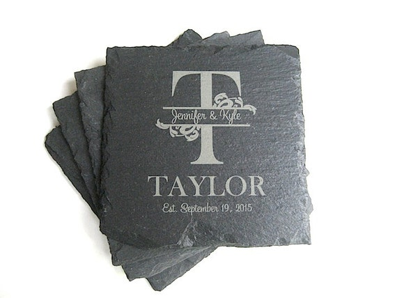 Personalized slate coasters drink coasters set of 4 family - Slate drink coasters ...
