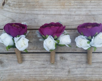 PURPLE Ranunculus Boutonniere Wedding Buttonhole made with Real Touch Ranunculus, Roses and Dusty Miller