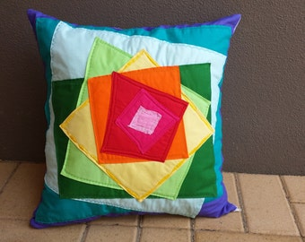 Colourful rainbow squared wonky cushion cover