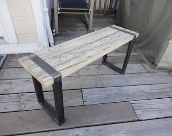 Reclaimed Oak & Steel Bench