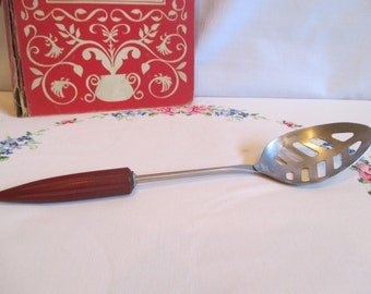 Androck Stainless Steel Slotted Spoon with Bullet Bakelite Handle