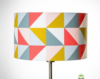 Geometric Drum lampshade triangles in coral