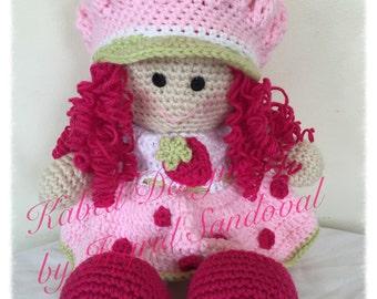 Strawberry Shortcake crochet doll, handmade doll, crochet doll
