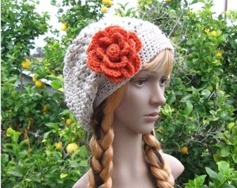 Crochet oatmeal slouchy beanie, loose fit rasta tam hat, boho style crochet hat with flower, hippie beanie, winter accessory, crochet hat