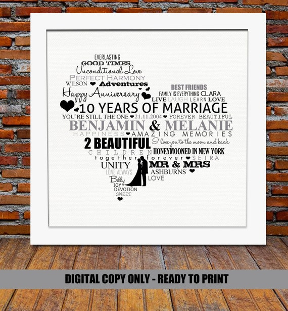 Personalized 10th Anniversary gift10 year wedding anniversary gift ...
