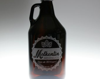 Growler Custom and  engraved with bottlecap themed art,homebrew gift,home brew,growler gift,custom growler,wedding gift,newlywed