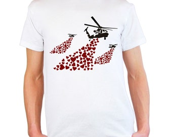 Mens & Womens T-Shirt with Banksy Helicopters with Hearts Bombs Design / Helicopter Shirts / Love Heart Tee Shirt + Free Random Decal Gift