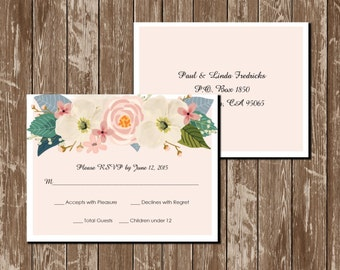 Printable Floral Wedding Invitation Whimsical Floral Wedding RSVP