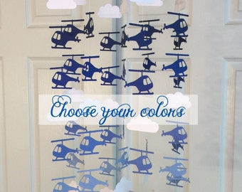 Helicopter Mobile you can CHOOSE YOUR COLORS! nursery mobile, nursery decoration, paper mobile, Helicopter nursery mobile