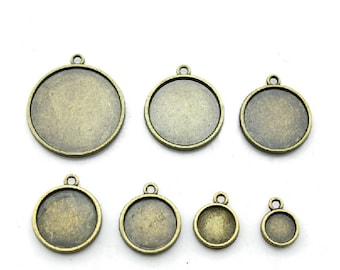 20mm Round Pendant Tray, Bezel Setting, 20mm  Cabochon Tray - Antique Bronze,Antique Silver,Double Same Side