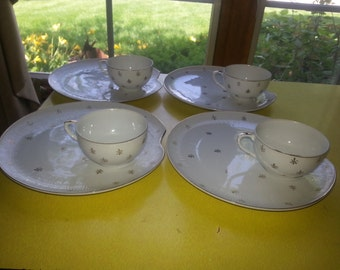Vintage Lefton 1950s Set of FOUR Gold and White Fleur De Lis Snack Cups and Plate Sets RARE!