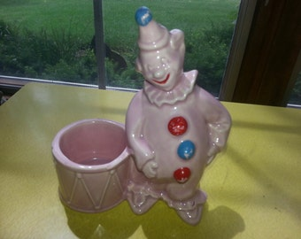 Vintage 1940s Ceramic Cold Paint Pink Clown Planter CUTE!
