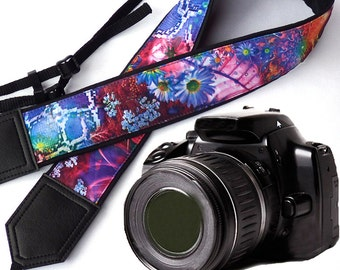 Abstract Flowers camera strap. DSLR / SLR Camera Strap. Camera accessories. Photo accessories. Colorful camera strap by InTePro