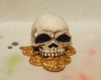 Fondant Pirate Half Skull and Treasure Cake Topper