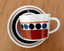 Tea Cup & Saucer LAPID Israel Ceramics, Vintage '60's Hand Painted Pottery,  Made in Israel, White, Brown and Blue Dots