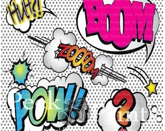 6ft.x6ft Superhero Says What?!? Vinyl Photography Backdrop- Photobooth Background