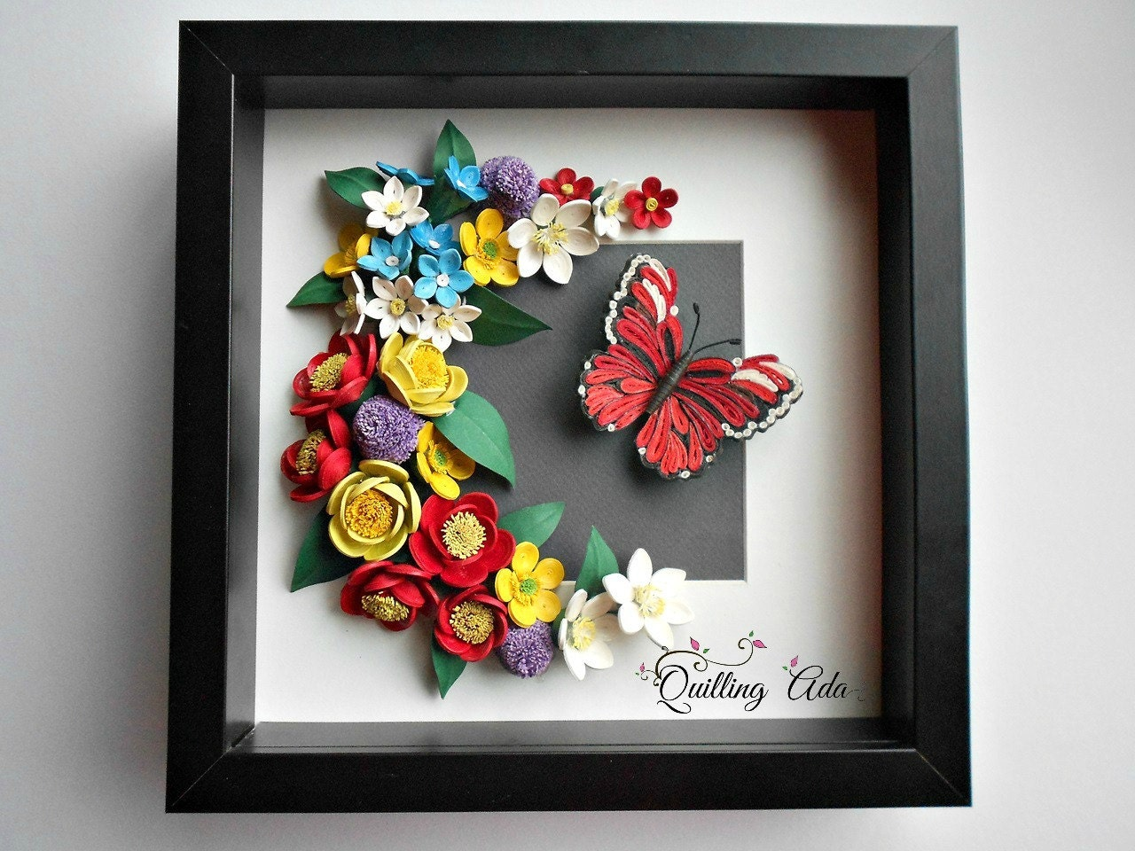Quilling Paper Flowers Butterfly Wall Art By Paperartbyada