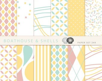 AFTERNOON TEA 2 Scrapbook digital paper - 12 digital papers with geometric patterns in mint/dusky pink/yellow - download - printable - 272