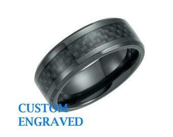 Black Titanium Engraved Band - Engraved Ring - Titanium Black Ring - Men Titanium Wedding Band - Black Titanium Engraved Band - Black Ring