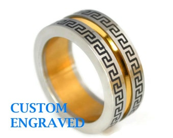 Engraved Stainless Ring with CZ - Personalized Steel Ring - Greek Key Stainless Steel Men Ring - Trendy Stainless Steel Custom Engraved Ring