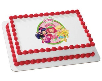 Strawberry Shortcake Edible Cake or Cupcake Toppers - Choose Your Size