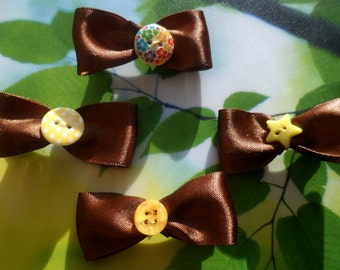 Brown Satin School Uniform Bow