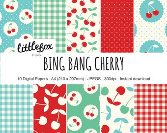 Bing Bang Cherry digital paper pack, instant download