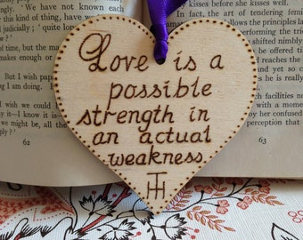 Thomas Hardy Quote on Birch Ply Loveheart. Far from the madding crowd, pyrography, wood burning, ideal gift, keepsake