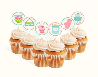 INSTANT DOWNLOAD Bake Shop cupcake toppers