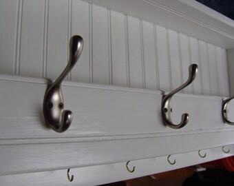 "Custom 42"" Handcrafted Wooden Rustic wall mount Mail & Key Organizer, Coat Rack, Letter, Premium Hooks, Shelf, White Enamel or other finish"
