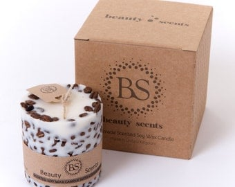 Handmade Scented Soy Candle With Coffee Beans