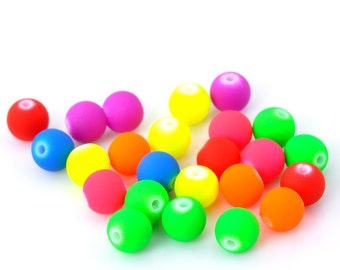 100 Assorted Colour Neon Bubblegum Beads 8mm.  Ideal for jewellery, decoration, Rubberised effect