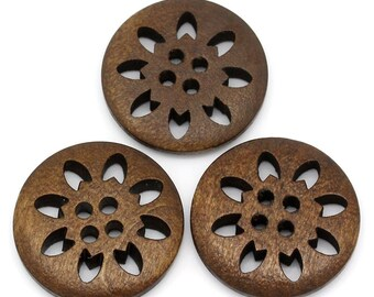 Hollowed Flower Snowflake Design Wooden Buttons 25mm.  Sewing Knitting Scrapbook and other craft projects