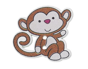 "Wooden Chimpanzee Monkey Design Sewing Buttons.29.0mm(1 1/8"") x 28.0mm(1 1/8""). Ideal for Sewing, Scrapbook and Crafts"