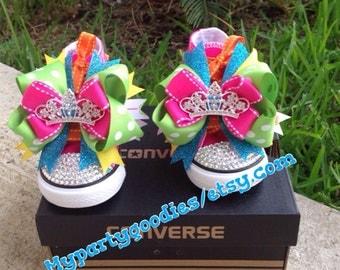 Princess converse shoes, Princess bling shoes, Pink princess shoes, pink princess bling shoes.