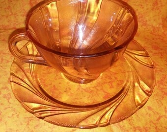 One Lovely Vintage Arcoroc Rosaline Swirl Teacup and Saucer