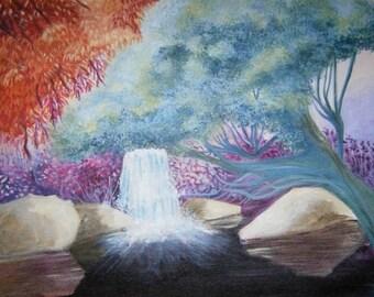 modern painting / acrylic table / landscape garden / zen decoration / gift original art/painting / garden waterfall/canvas spring/nature