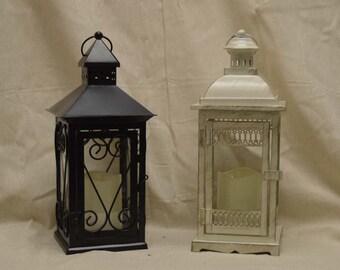 Wedding 14 inch Lantern Centerpiece Vintage Antique Ivory & Gold. Wedding Decor. Wedding Table Centerpieces. Centerpiece Ideas
