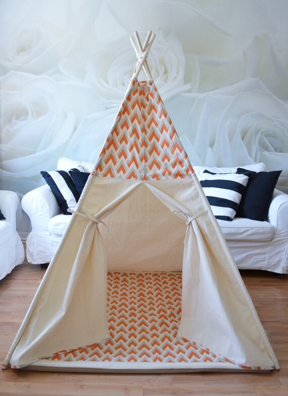 Teepee play tent with poles and play mat - 4 panels reversible natural canvas with orange or blue print with playmat
