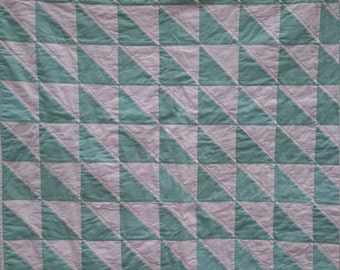 Aqua and White Modern Triangle Quilt