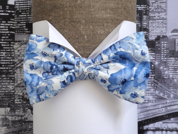 Bow Tie, blue floral bow tie, pre tied bow tie or self tie, on an adjustable band, will fit neck size 11.5 to 19.5 inches (29cms to 49cms)
