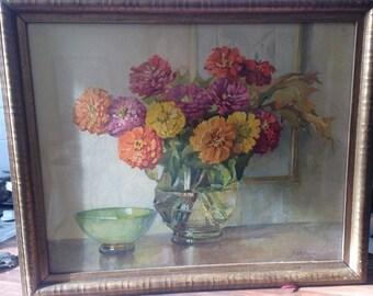 Vintage Art  Vintage Gold Framed Print of Flowers by  J Philippe Interior Scene