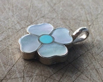 Vintage Abalone and Turquose Flower Pendant / Sterling Silver