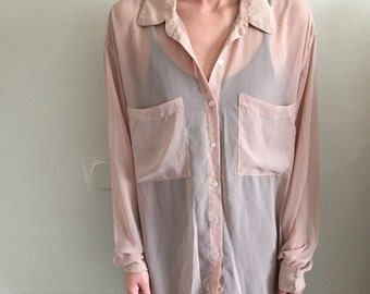 nude oversized chiffon blouse