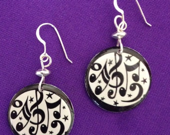 Music Note or Music Staff Earrings - on sterling earwires