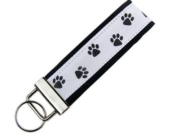 Personalized Key Chain / Key Fob Paw Prints with Optional Initials