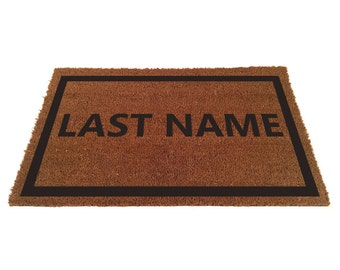 Custom Doormat with Border - Add your last name (size opts)