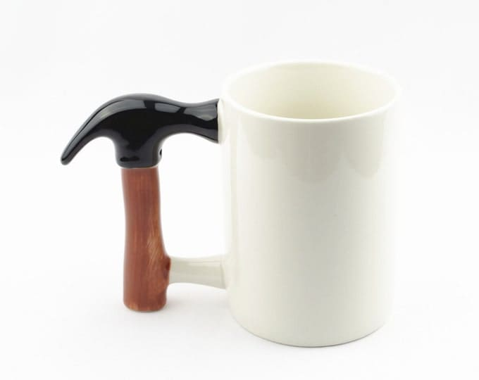 Creative Novelty Hammer Handle Stoneware High Capacity Coffee Mug White 15 oz. 450ml